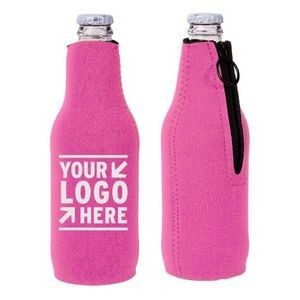 Neoprene Zipper Beer Bottle Cooler w/ 1 Color Imprint